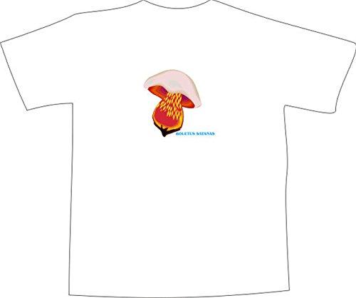 T-Shirt E397 Schönes T-Shirt mit farbigem Brustaufdruck - Logo / Grafik - minimalistisches Design - tötlich giftiger Satanspilz Mehrfarbig