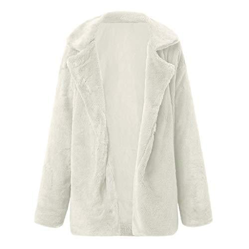 Vicgrey ❤ donna cappotto lunghi di finta pelliccia ecologica manicotto cappotti caldo inverno giacca con cappuccio pelliccia sintetica donna cardigan autunno invernale