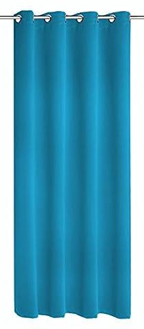 Albani Moments Blackout 262224 hochwertiger Ösenschal, Verdunkelungs Vorhang aus weichfließendem, blickdichten Stoff, trendige Fertiggardine in Top Qualität, Schal in Farbe: Türkis, Maße: 245 x 140 cm (H x
