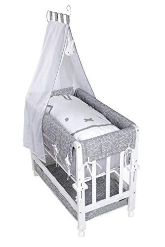 roba Stubenbett Babysitter 3in1 miffy, weiß lackiert, verwendbar als Beistellbett zum Elternbett, Bettchen und Bank, inkl. Matratze, Bettwäsche, Inlett, Himmel und Himmelstange, 4 Bremsrollen