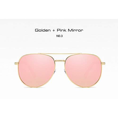 Siwen Neue Kristall Dekoration Oversize Pilot Sonnenbrille Frauen Mode Spiegel Beschichtung Shades Uv400 Schutz,Rosa Spiegel