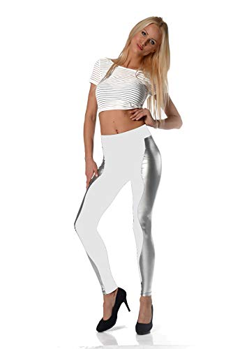 AE Leggings 2 farbig Latex Look Lack Glanz Legings Gr. S M L XL XXL 3XL, P910 Weiß/Silber XL/42