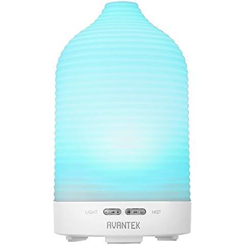AVANTEK Humidificador Ultrasónico Difusor de Aromas 100ml Con LED luces de 7-color, Continua e intermitente Modos Mist, Apagado Automático