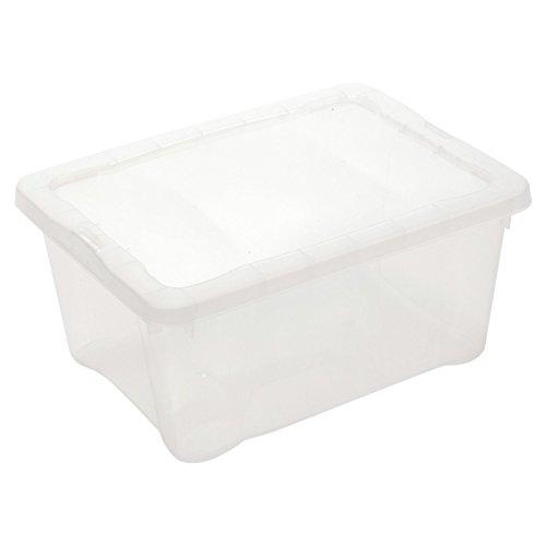 Cajas de almacenaje de plástico, ligeras, apilables, soluciones de almacenamiento y con tapas en clic, 3 Boxes, Size 3) 38 x 26 x 15