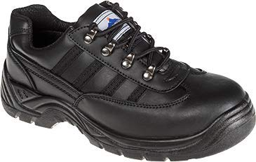 Portwest S1P Trainer Shoes Steel Midsole Buffalo Leather Chemical-resist Black Size 9 Ref FW25SIZE9