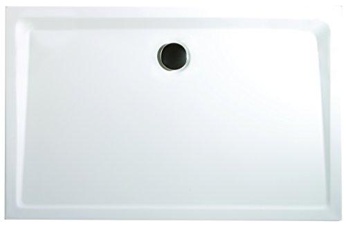 Schulte Duschwanne 90x100 cm, Rechteck extra-flach 3,5 cm, Sanitär-Acryl alpin-weiß, inkl Ablauf und Füßen