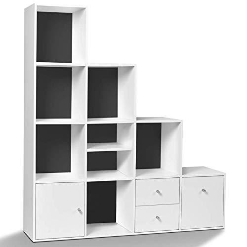 IDMarket - Meuble de rangement escalier 4 niveaux bois blanc fond gris avec porte et tiroirs