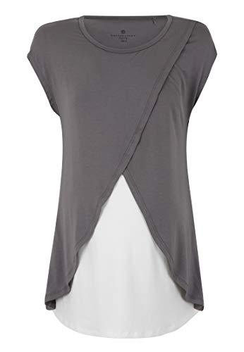 Bellybutton schwangerschaftsmode t-shirt 1/4 arm mit stillfunktion premaman, grigio (tornado 1023), x-large donna