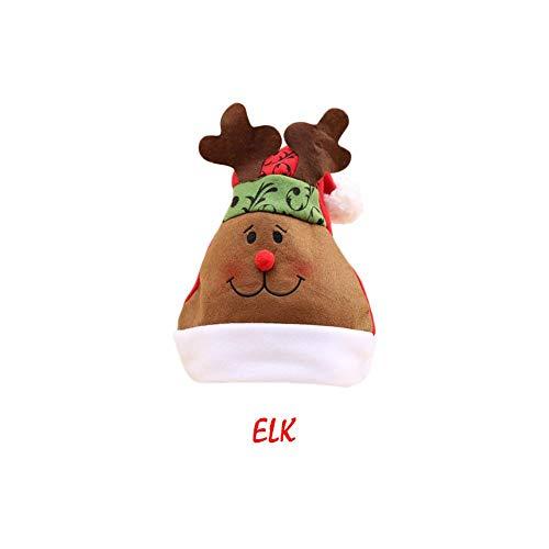 heling896 Weihnachtsmützen mit Bobble-Weihnachtsmann-Ren-Schneemann-Bärn-Muster-Hut-Bevorzugungen für Erwachsene und Kinderweihnachtsgeschenke (Topper Hut Baum)