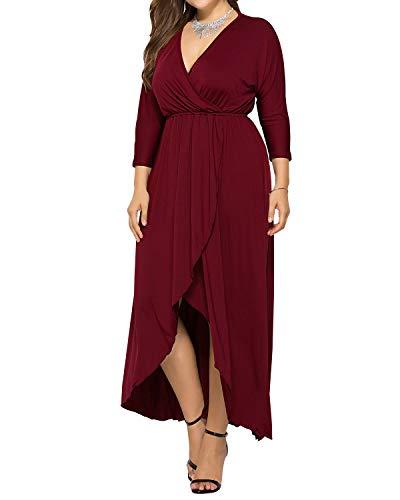 AUDATE Damen Elegant Große Größen Maxikleid V-Ausschnitt Fledermaus Ärmel Langes Kleid Sommerkleid Wein rot DE 42 (Kleid Größe Und Plus Schwarz Rot)