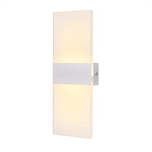 Scheda dettagliata Lampada da Parete a LED 6W, AGPTEK W02S Moderno Applique da Parete Interni in Acrilico e Alluminio per Decorazione Soggiorno Camera da Letto Bagno Hotel, Bianco Caldo