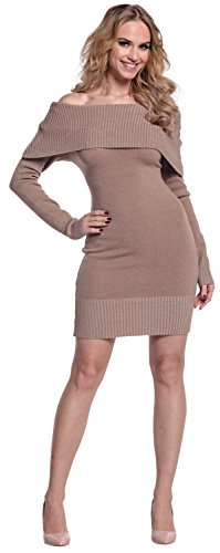 Glamour Empire. Femme Robe en maille encolure Bardot manches longues. 909 Cappuccino