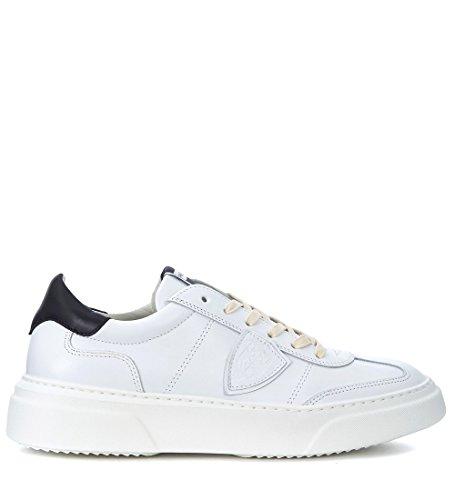 Philippe Model Temple Sneaker En Cuir Blanc Et Noir