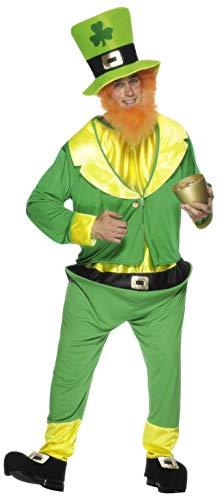 Heinzelmännchen Kostüm Grün mit Jumpsuit Jacke Hut und fuchsrotem Bart, One ()