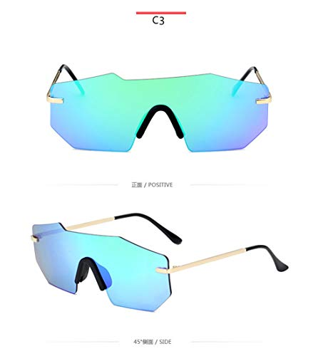 HUWAIYUNDONG Sonnenbrillen,Fashion Polarized Sunglasses Men Women Design Retro Rimless Mirror Frameless One Piece Driving Glasses Blue W Green