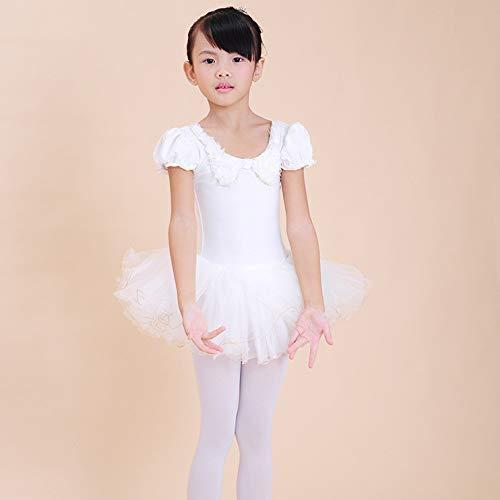 QTONGZHUANG Bow Dance Kleid Sommer Prinzessin Neuen Pelz Kragen Bogen Tanz Kleid Rock, weiß, 130cm