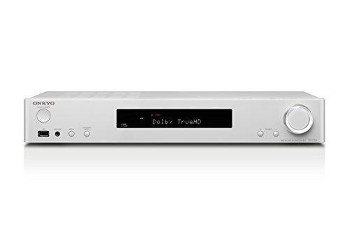 Onkyo TX-L50(WH) 5.1 AV Receiver (Dolby Atmos/DTS:X Wiedergabe, WLAN, Bluetooth, Musik-Streaming, Spotify, Deezer u.a., Internetradio, Multiroom (FlareConnect), Ausgangsleistung 80 W/Kanal), weiss