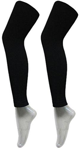 2 Stück Damen Thermo Leggings Blickdicht Super Warm mit Innenfutter Leggins Strumpfhose Legging (40-44 (M - L), Schwarz)