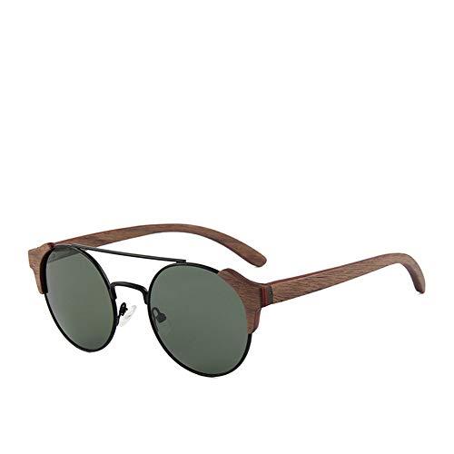 FUZHISI Sonnenbrillen Holzrahmen Polarisierte Sonnenbrille Frauen Männer UV400 Geschütztes Sonnenglas, Grün