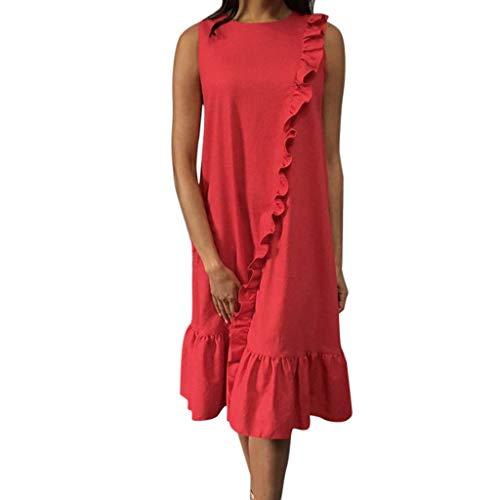 Wawer ஐ Einfarbiges ärmelloses Damenkleid Solide Damen Beiläufiges Ärmelloses Loses Cocktail Kurzes Mini Party Kleid Chinese Rot Kleid Ruffle lang Ruffled Sleeve Club Party Strandkleid - Chinesen In Roten T-shirts