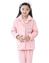 Pijamas Pijamas de niñas Pijamas de otoño Invierno de Franela para niñas Pijamas Rosas Pijamas de