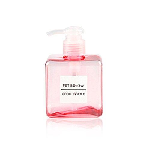 OUNONA 250ml Soap Dispensers - Plastic Empty Bottles Liquid Hand Soap Refillable Square Pump Bottle For Shower, Shampoo Cream, Kitchen Bathroom 16oz 2 Pcs (Transparent Pink)