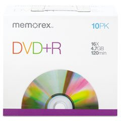 Memorex DVD + R Discs, 4.7GB, 16x, w/Slim Jewel Cases, Silver, 10/Pack (Memorex Slim)
