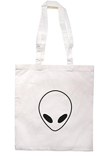 breadandbutterthreads Alien Face Borsa 37,5cm x 42cm con manici lunghi Natural