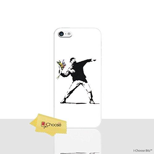 iPhone 5c Banksy Silikonhülle / Gel Hülle für Apple iPhone 5C / Schirm-Schutz und Tuch / iCHOOSE / Blumen Banksy Werfen Blumen