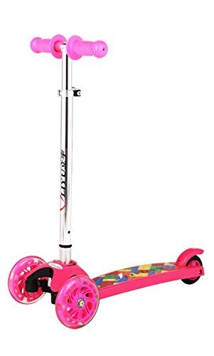 Mini Kick Monopattino 3 Ruote, Regolabile in Altezza con PU lampeggiante ruota per bambini
