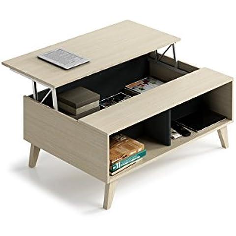 Habitdesign 0Z6633R - Mesa de centro elevable con revistero incorporado , color roble y antracita ,