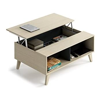 This Item Habitdesign 0z6633r Coffee Table With Elevating Upper And Built In Magazine Holder Colour Oak And Carbon