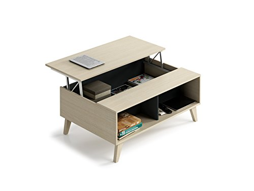 Habitdesign 0Z6633R - Mesa de centro elevable con revistero incorporado , color roble y antracita , 100x68x41/56