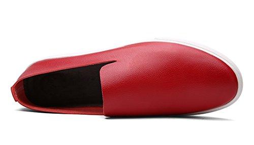 TDA ,  Herren Durchgängies Plateau Sandalen mit Keilabsatz Rot