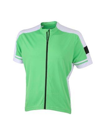 James & Nicholson - Maglietta a manica corta con cerniera intera, indumento da ciclismo verde