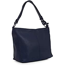 LiaTalia - Largo bolso hobo para mujer de piel italiana suave con correa de hombro ajustable y bolsa protectora - EMMY (Azul marino obscuro)