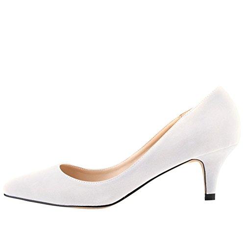 fereshte ,  Damen Durchgängies Plateau Sandalen mit Keilabsatz Weiß