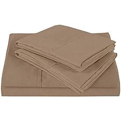 Ultra soft- elegante, cómodo satén 100% sábana de algodón egipcio 4piezas Juego de sábanas para colchón de hasta (35-cm) by-british elección lino, 100% algodón, Taupe Solid, UK King
