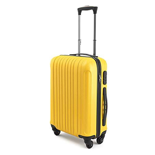 """Trolley da Cabina Bagaglio a Mano SAMMY 20"""", Capienza 43 Litri, 55 x 35 x 20 cm, Ideale a bordo di EasyJet Ryanair Alitalia WizzAir, Trolley Rigido in ABS e Policarbonato Leggero (Giallo)"""