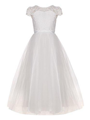 FAIRY COUPLE Mädchen O Ausschnit Lace Kappenhülsen Tüll Blumenmädchen Kleid K0214 Weiß Größe 8 (Fairy Kleider Kinder Für)