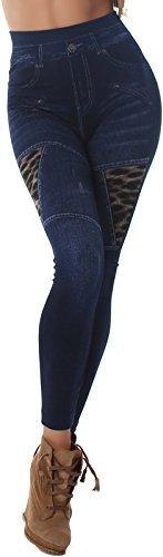 Veryzen Hoher Bund Jeans-Look Leggings Destroyed Print Bedruckt High Waist Jeggings Leopard & Reißverschluss -