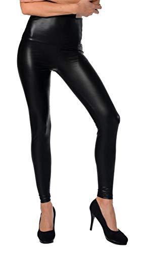 AE Damen Leggings Wet-Look schwarz Silber Gold pink grau Glanz Legings Gr. S M L XL 2XL 3XL 4XL, p904 Schwarz Matt M/38