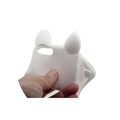 Pour iPhone 7 3D Charmant Chat Forme Coiffant Mode Silicone Gel TPU Doux Slim Ultra Fine Coque Case Etui de Protection pour Apple iPhone 7 4.7 inch ( Blanc ) avec 1 Silicone Titulaire Kickstand blanc
