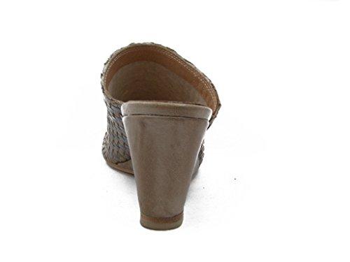 Osvaldo Pericoli, sandalo in pelle intrecciata beige, zeppa 6cm. e suola antiscivolo, TSZ470 spago