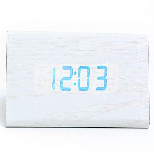 Mzbbn despertadores Digitales Despertador LED de Madera Reloj silencioso Reloj de Alarma electrónico...