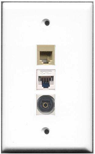 RiteAV–1Port Telefon RJ11, RJ12, beige 1x Toslink 1Cat5e weiß Wall Plate (Weiß Keystone Coupler Cat5e)