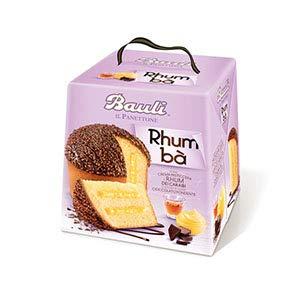 Panettone bauli rhum ba' 750 grammi con crema pasticcera e rhum dei caraibi coperto con cioccolato fondente