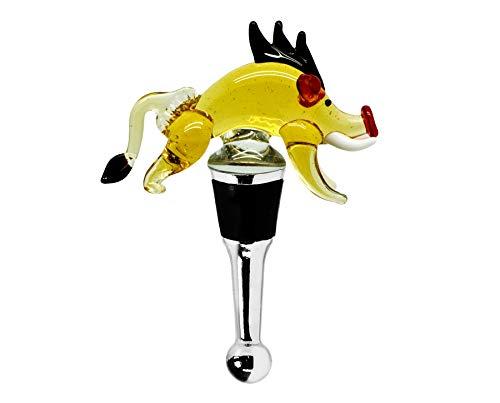 EDZARD Flaschenverschluss Eber für Champagner, Wein und Sekt, Höhe 10 cm, Muranoglas-Art, Handarbeit