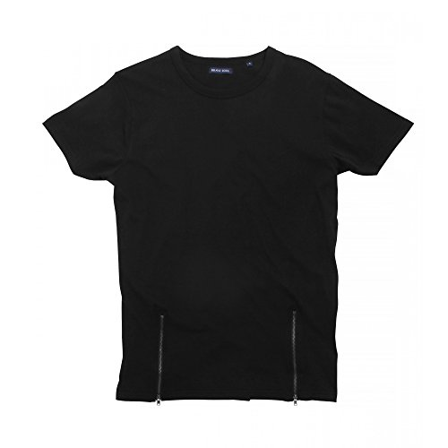 Brave Soul Herren Falcon T-Shirt mit Reißverschlüssen vorne, kurzärmlig Grau Meliert
