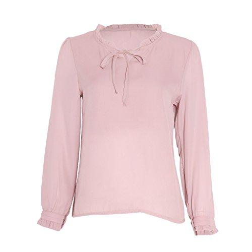 SLYlive - T-shirt de sport - Body chemise - À Étoiles - Col Chemise Classique - Femme Rose